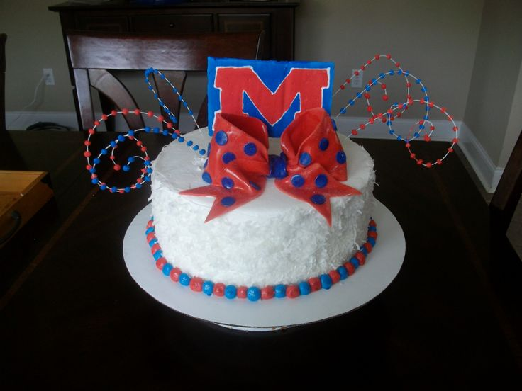 Ole Miss Hotty Toddy Birthday Cake - Coconut cake with coconut custard filling. Iced with bc.