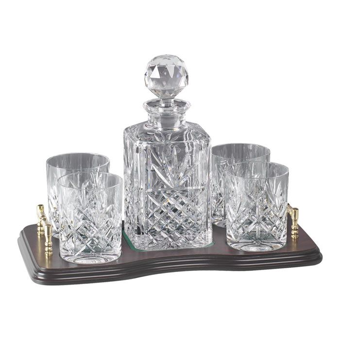 Waterford Crystal Scotch Decanter | Crystal And Brass Whisky Decanter And 4 Glass Set : Engraved Decanters ...