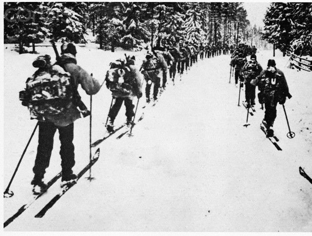 Swedish Ski Troops -  Volunteer Swedish ski troops on maneuvers in the Russo-Finnish War, 1940.