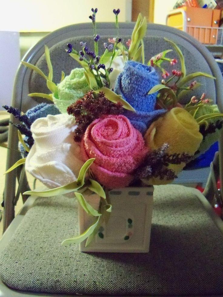 wash cloth flower arrangement for baby shower