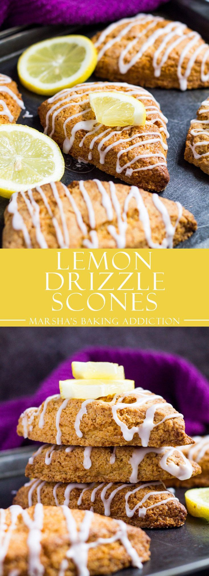 Lemon Drizzle Scones | http://marshasbakingaddiction.com /marshasbakeblog/