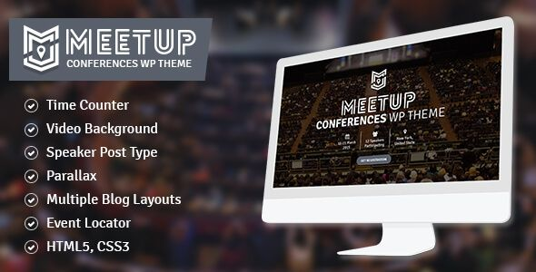 Meetup is a conference/event WordPress theme suitable for event sites, conferences & similar sites that need responsive and slick presence. Theme have powerful features like Event Manageme...