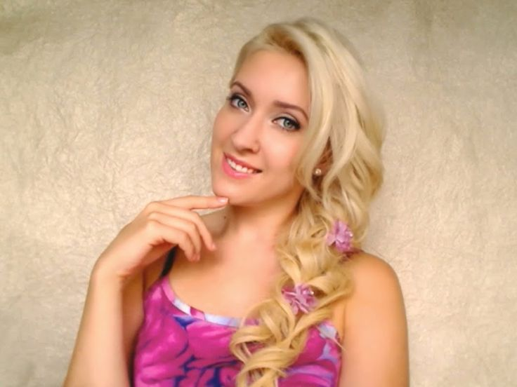 Romantic hair tutorial Cute prom hairstyle for long hair with side swept curls Valentines braid, via YouTube.