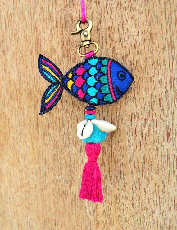 Multicolor Fish Tassel Handmade Boho Bag Charm Tribal Etsy In 2020 Boho Bag Charm Shell Crafts Diy Handmade