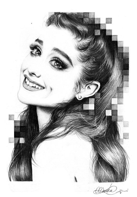 Original ariana grande pencil drawing by duchess94 on etsy 139 99