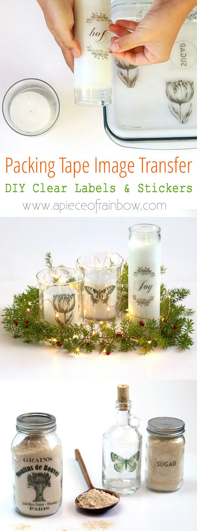 Make clear stickers using an easy packing tape image transfer method. Great for pantry labels, gift tags, custom designs on glass, wood or metal objects!