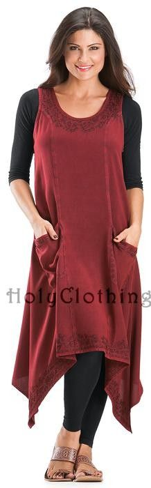 "Astrid Patch Pocket Lagenlook Long Tunic In Burgundy Wine. This site is interesting...is it religious on some way? I mean the clothing is all what religious folks refer to as ""modest"" but there is no hype on the site..."