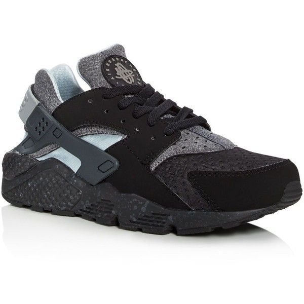 Nike Men's Air Huarache Run Se Lace Up Sneakers ($120) ❤ liked on Polyvore featuring men's fashion, men's shoes, men's sneakers, black, mens sneakers, mens black sneakers, mens shoes, nike mens sneakers and mens lace up shoes