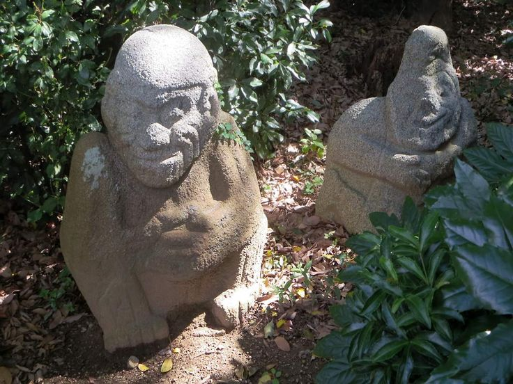 """The mausoleum of Princess Kibihime (died 643 AD) at Asuka, Japan, contains several stone figures called saru-ishi or """"monkey stones""""."""
