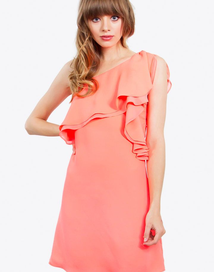 – One shoulder draped ruffle dress – Side invisible zipper closure – Lined – Color: Neon Orange  Size + Fit – Model is wearing size S – Measurements taken from size S – Length: 33.5″ – Chest: 33.5″ – Waist: 32″