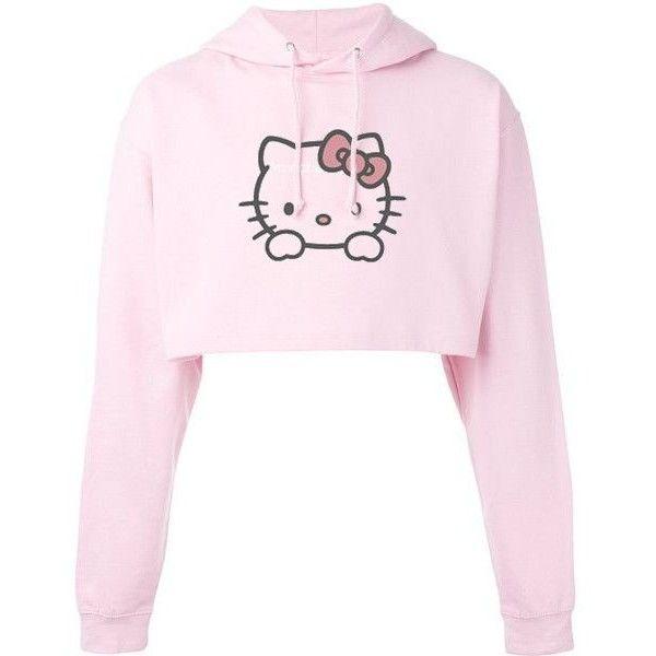 367985b7c Hello Kitty Cropped Hoodie ❤ liked on Polyvore featuring tops, hoodies,  hoodie crop top, cut-out crop tops, cropped hoodies, hooded pullover and  hello ...