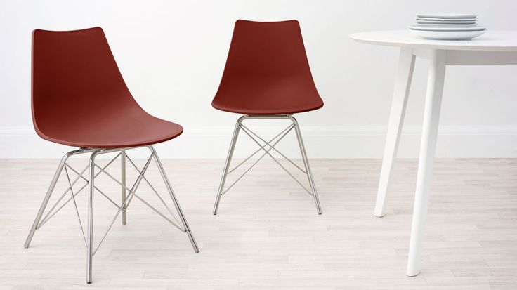 Brick Red and Wired Dining Chair