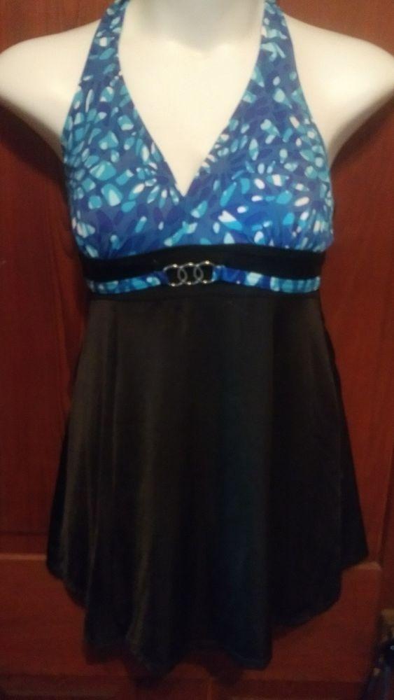 Jaclyn Smith size 12 1pc swimsuit bathing suit dress halter modest blue black | Clothing, Shoes & Accessories, Women's Clothing, Swimwear | eBay!