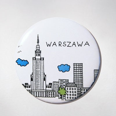Fridge Magnet - White Panorama. The colourful souvenir from Warsaw for your fridge or magnetic board. $10 zł.