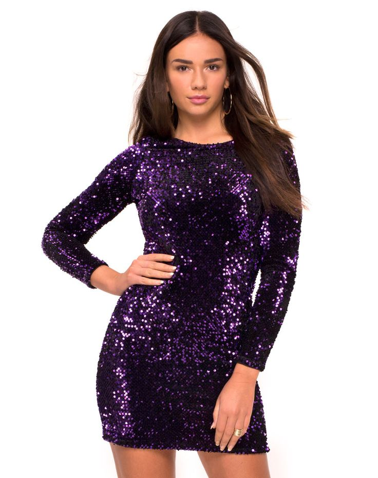 Bodycon Purple Sequin Dress with Long Sleeves | Discotheque in Sequin Purple by Motel - Motel Rocks