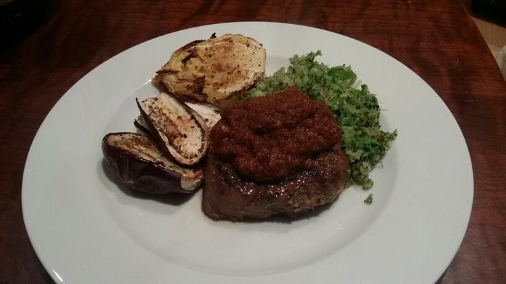 Roast cabbage  aubergine,  with cauliflower  broccoli mash, fillet and salsa
