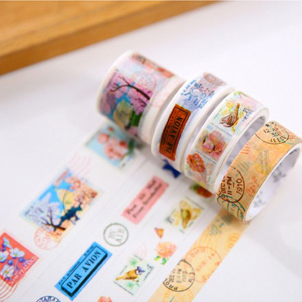 Wholesale Vintage Stamp Washi Tape Diy Decorative Scrapbook Masking Tape Office Adhesive Tape Stationery School Supplies Permanent Double Sided Tape M3 Tape From Huojuhua, $21.16| Dhgate.Com