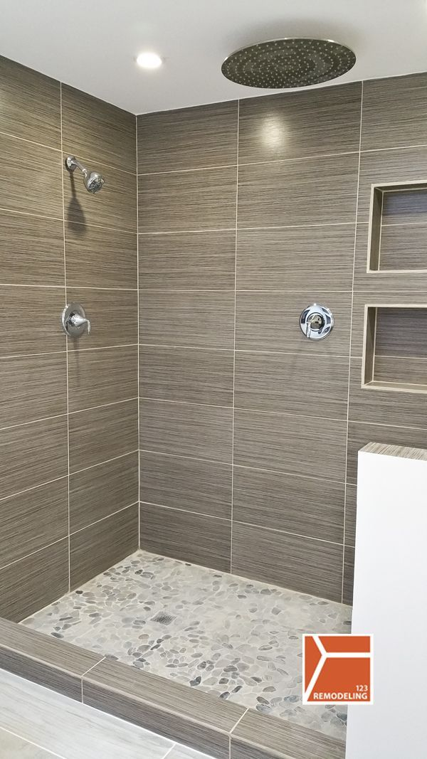 Pics Of This Skokie bathroom renovation was a plete We created a modern bathroom with heated floors fireplace stand alone tub and standing shower