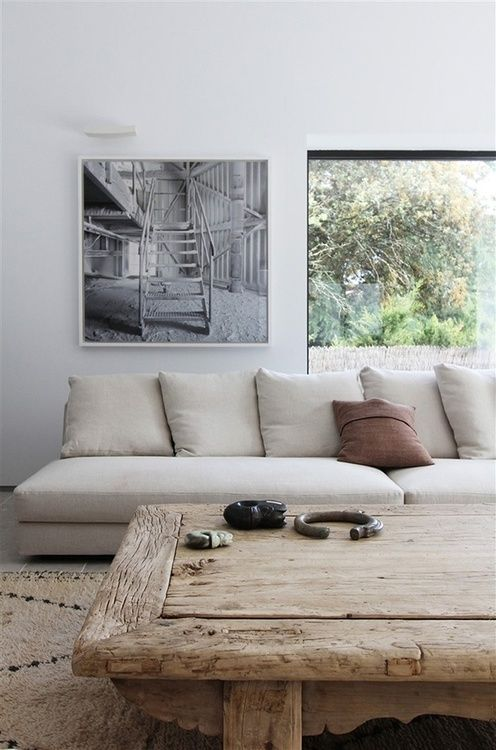 love the table and the linen couch - better with arms though so you can cozy in.