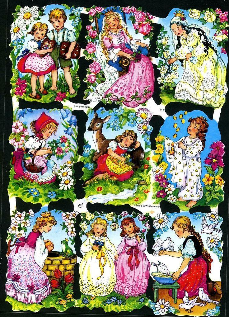 # GLANZBILDER # EF 7142 , 9 tolle Märchenbilder, 50er Jahre,Original v. EAS   eBay