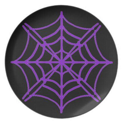 Happy Halloween Spider Web Purple Dinner Plate - halloween decor diy cyo personalize unique party