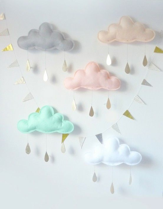 Beautiful clouds for a nursery or child's bedroom.