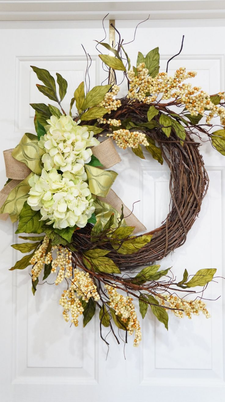 Summer Wreath-Spring Wreath-Grapevine Spring Green Hydrangea Wreath With Beige Berries-Mothers Day Gift-Housewarming Gift-Front Door Wreath by WreathdesignsbyJulma on Etsy