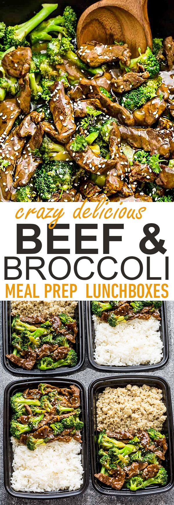 This Skinny Beef and Broccoli Stir-Fry makes the perfect easy weeknight dish full of authentic flavors. Best of all, it's so easy to make and is way better and healthier than your favorite Chinese takeout restaurant. Great for meal prep Sunday and leftovers can be used for work or school lunch bowls! #takeoutfakeout #dinner #mealprep #lunchboxes #beef #broccoli