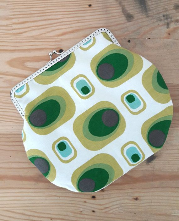 Clasp clutch, make-up bag in 70's vintage fabric. By Happy in Red.