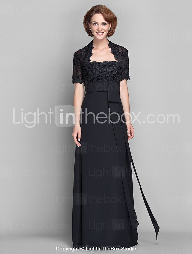 Lanting Bride® A tubino Taglia forte / Minuta Abito da cerimonia per signora - Coprispalle incluso Lungo Manica corta Chiffon / Di pizzo- del 2017 a €88.19