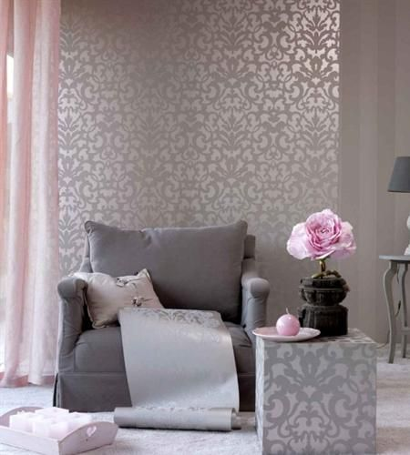 67 best grey interiors with a pop of colour images on for Grey silver wallpaper living room