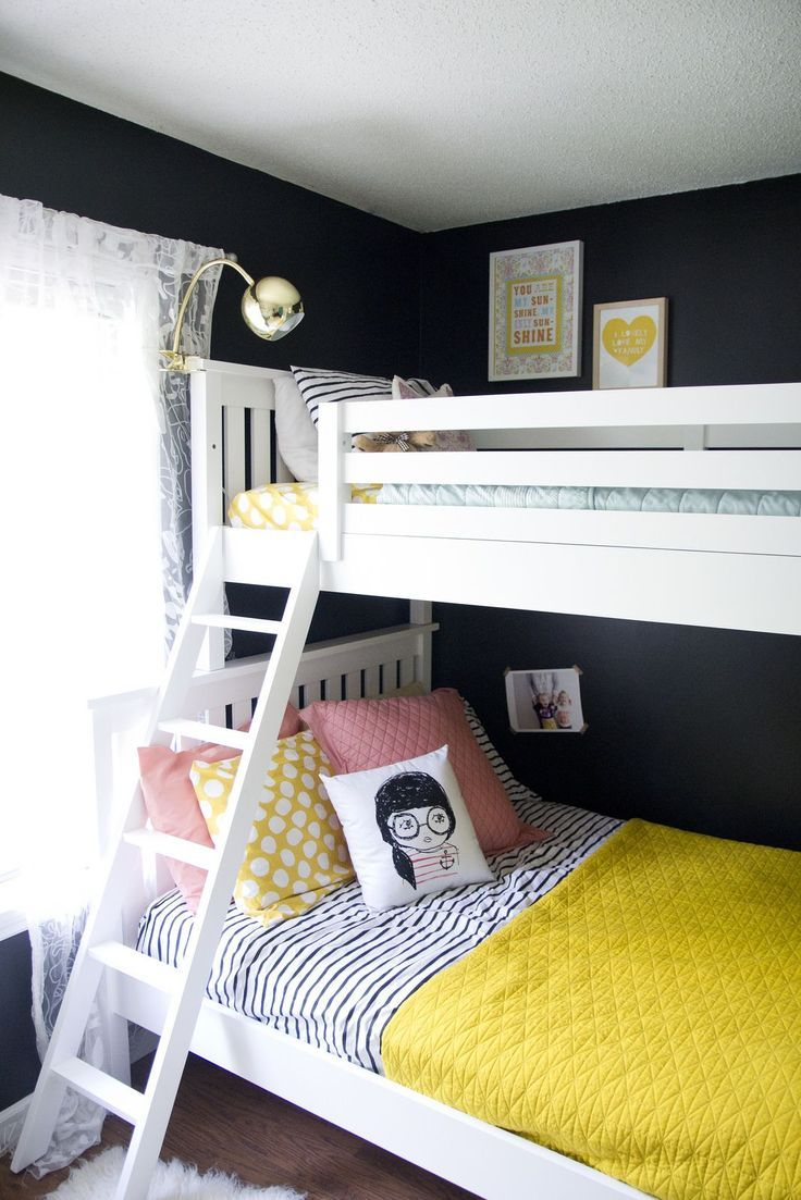 Hanging loft bed ideas  This shared room looks great That bunk bed is perfect for sisters
