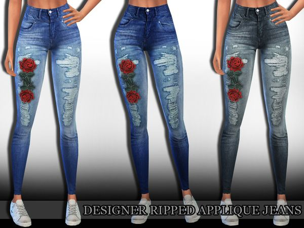 Designer Ripped Applique Jeans by Saliwa at TSR • Sims 4 Updates