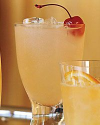 Fields of Gold, a version of a whiskey sour, combines 1 tablespoon honey, 1 1/2 teaspoons warm water, 3 orange slices, fresh lemon juice and1/4 cup bourbon.