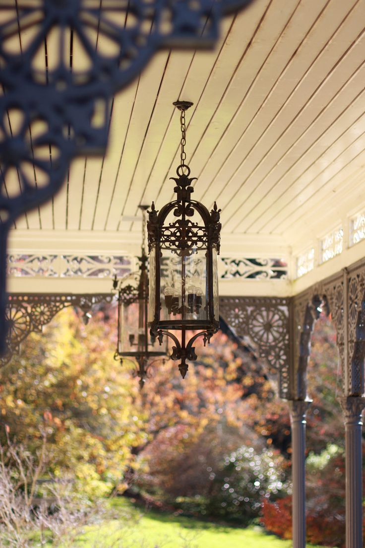 Outdoor lanterns and original three dimensional iron lace work, custom made in India at The Rift Bowral.