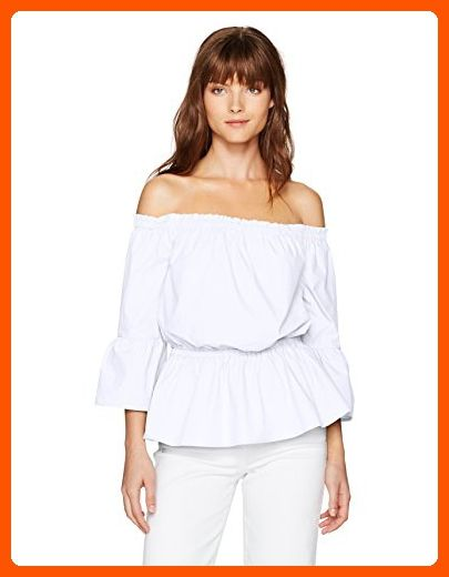 Kensie Women's Oxford Shirting Off the Shoulder Top, White, S - All about women (*Amazon Partner-Link)