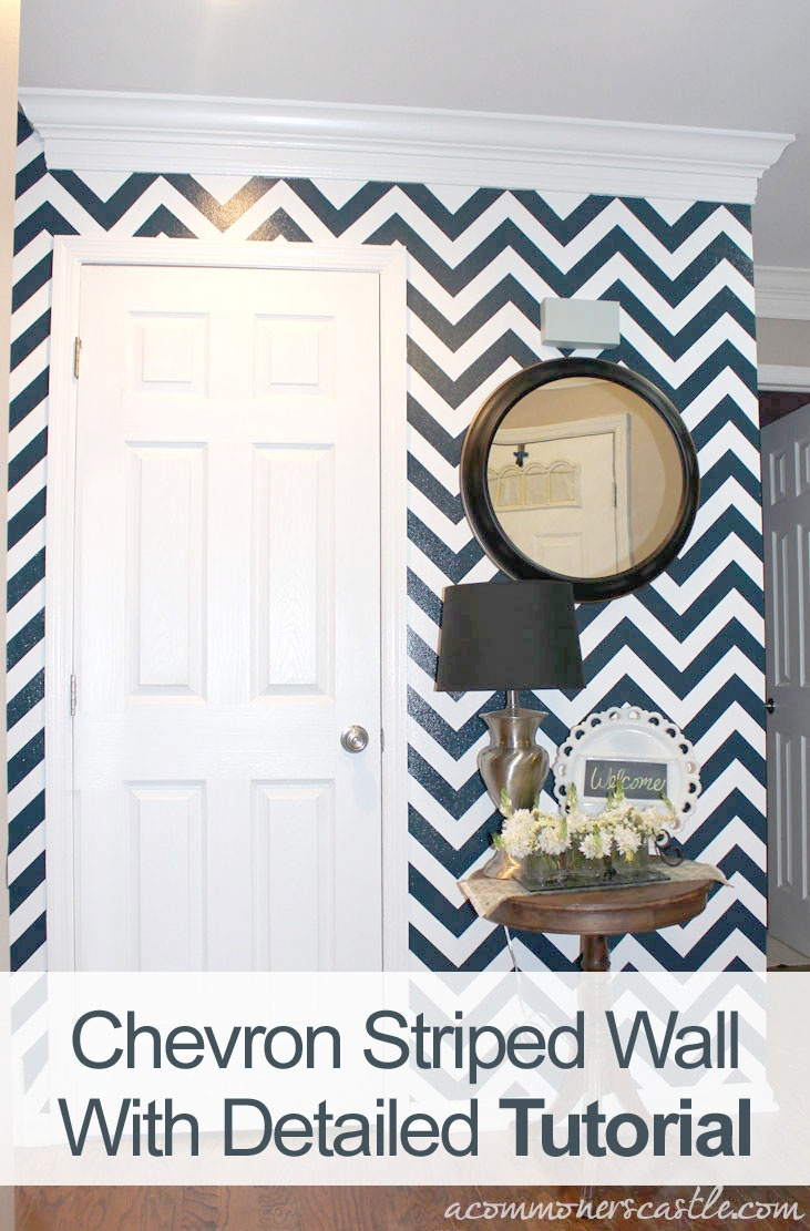"""Main floor bathroom. I subbed coral and aqua for the navy and white. It turned out beautiful but I wasn't all that impressed with the spendy tape that was """"required"""". As soon as it got a little paint on it, it lost its seal and the chevron stripes just started falling off making it a pain to get done! Love the outcome though! Well worth it!"""