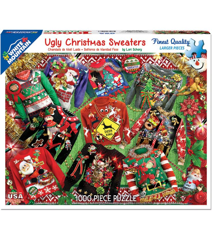 White Mountain Puzzles 1000 Pieces Jigsaw Puzzle-Ugly Christmas Sweater