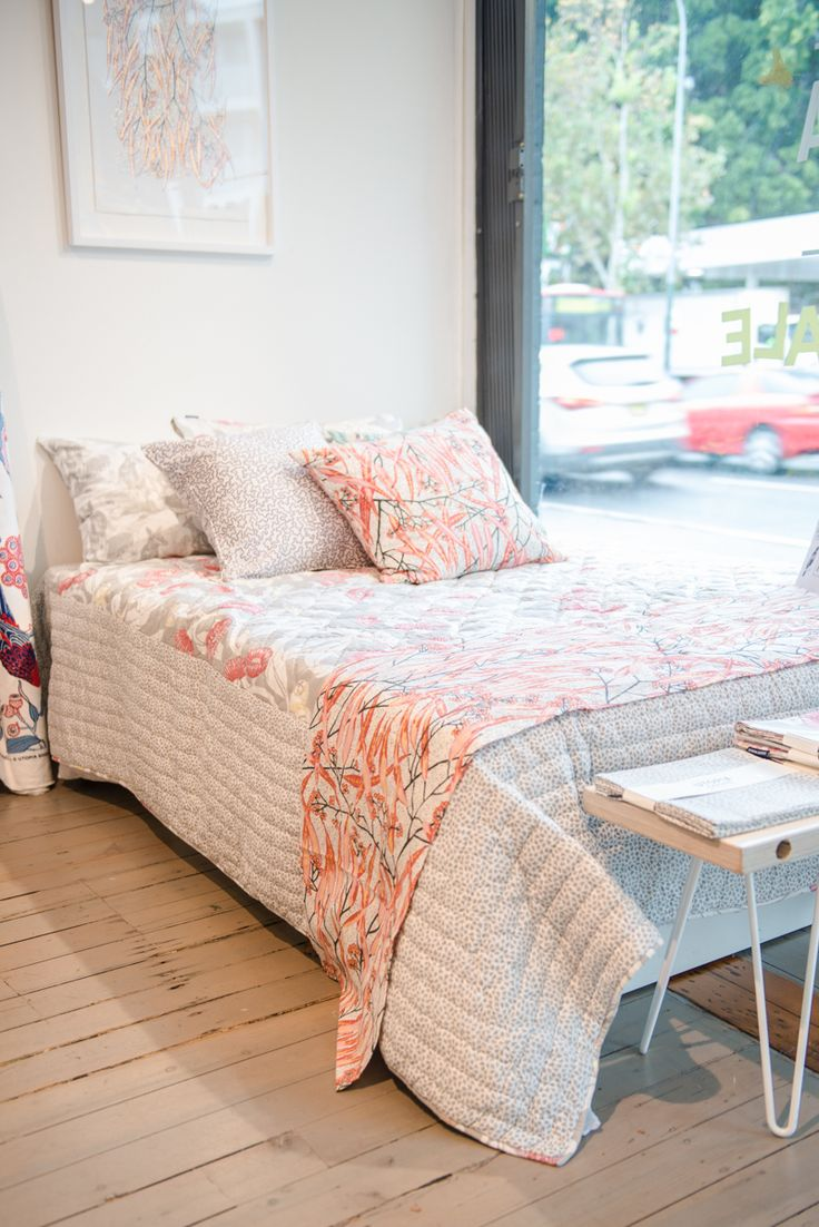 Utopia Goods 'Mallee Gum' Queen Quilt paired with 'Blossom' Eucalypt cushion and runner.