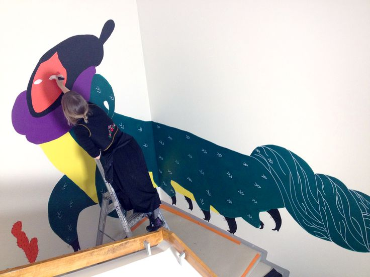 Ilona Partanen creating a mural for MOW! Read & see more here: http://napa-agency.fi/magical-world-of-ilona-partanen-the-walls-of-mow-hub-in-helsinki/?lang=en