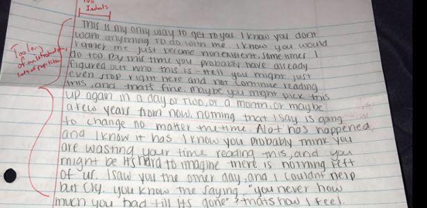 Vingança gramatical: ex-namorado devolve carta de desculpas toda corrigida