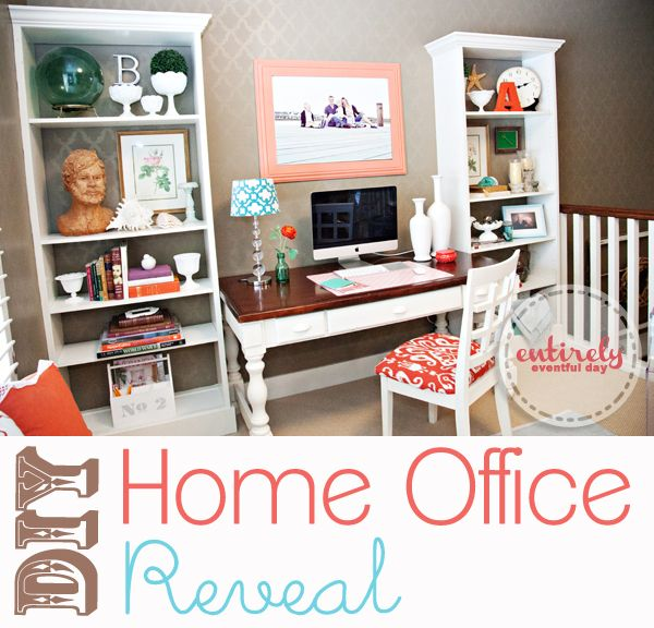 DIY Home Office Reveal {Coral and Aqua Office Space} - Entirely Eventful Day