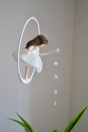 Wool doll Nursery Mobile / Wall Hanging Waldorf inspired : White fairy with stars and crystal drop