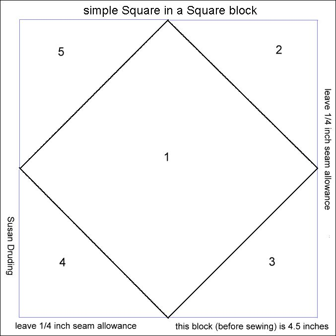 Quilting Templates Square : square in a square quilt block - paper foundation pattern--right click to copy, paste and resize ...
