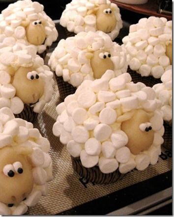 Sheep Cupcakes! Soo cute. I don't know what party would call for a sheep theme.