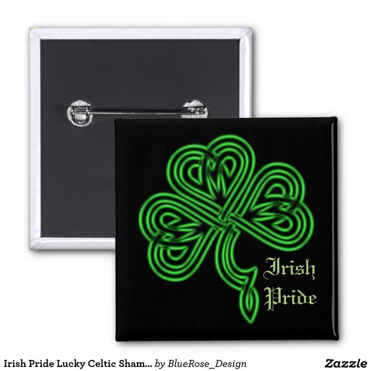 Irish Pride Lucky Celtic Shamrock Square Button | Customize with your choice of background color.