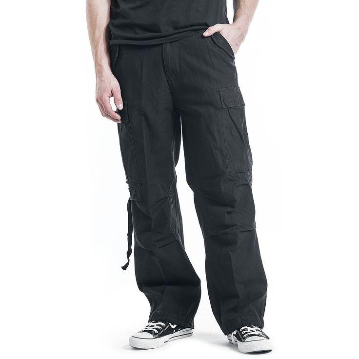 """#Pantaloni taglio casual """"M65 Vintage Trousers"""" della collezione #REDbyEMP extra comodi, modello Loose Fit neri. Dotati di 2 ampie tasche laterali e 2 sul retro, lacci nell'orlo inferiore, per fermare i pantaloni una volta arrotolati. Stile Vintage, in morbido cotone."""