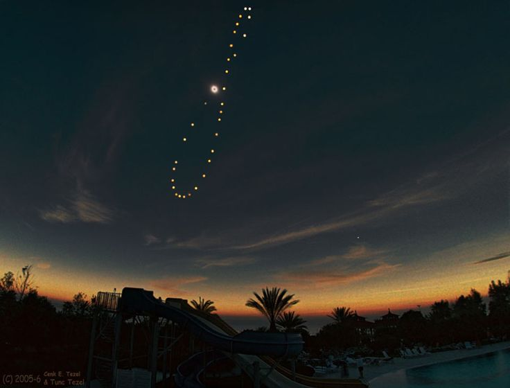 "Solar Eclipse Analemma (Image & copyright: Cenk E. Tezel & Tunç Tezel (TWAN)) Take a picture that includes the Sun in the same place every day & over a year the Sun positions make a figure-8 called an analemma. At northern Winter Solstice the Sun is at the bottom of the analemma. This analemma, shot in Turkey, starting in 2015, includes a total solar eclipse. The base image was taken during totality on 2009-03-29. Mona Evans, ""Winter Solstice""…"