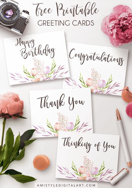 Printable Greeting Cards, Happy Birthday, Thinking of You, Thank You, Congratulations
