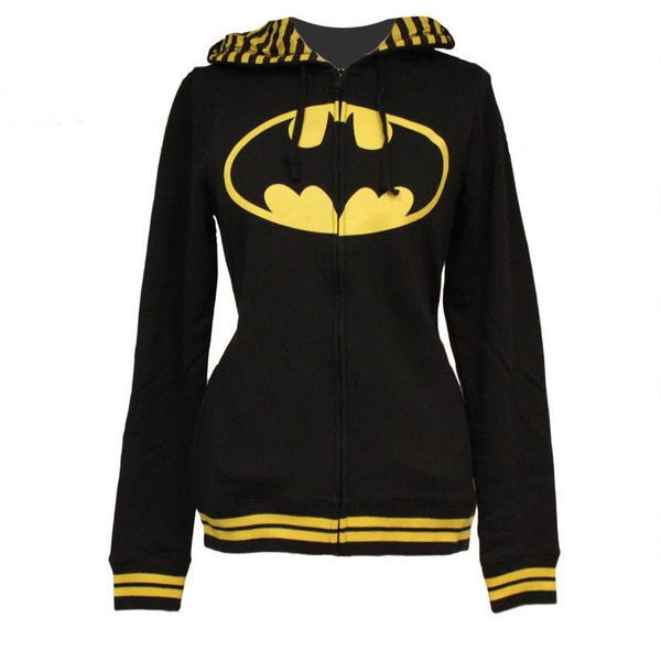 Batman Women's Fitted Hooded Sweatshirt from Warner Bros. ❤ liked on Polyvore